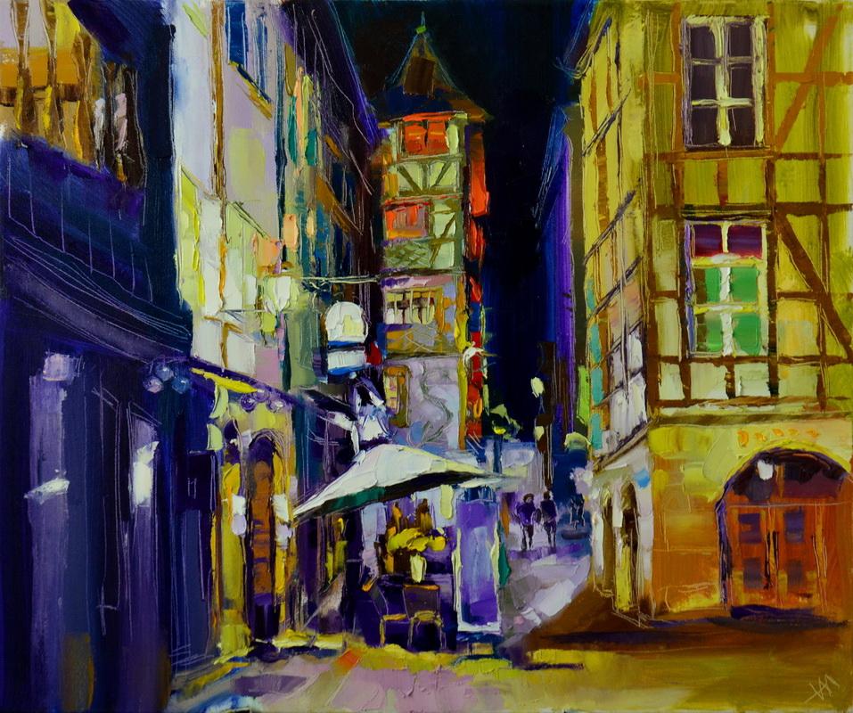 Nikita Manokhin. Rue nocturne à Strasbourg.