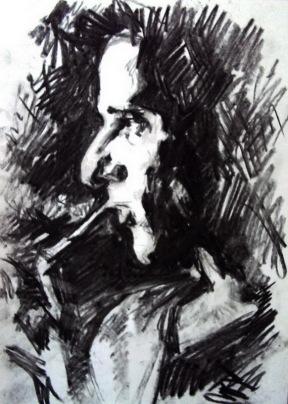 Portrait, fusain sur papier