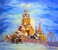 Svyatogorye. L'hiver. Temple de Toussaints.