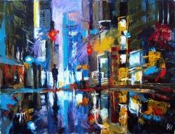 La nuit. Pluie sur Times Square.
