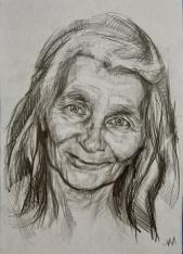 Portrait, crayon sur papier