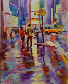 Tableau de New York, tableau de Times Square, New York en hiver, pluie sur Times Square