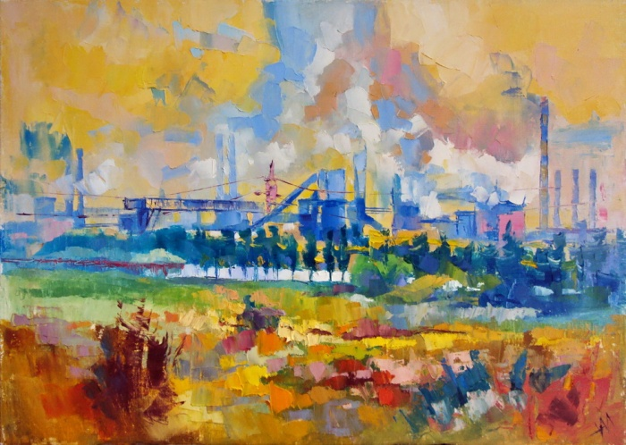 "600 euro. ""Ukraine. Mariupol. Industrie."" 2015, huile sur toile, 50 x 70 cm."