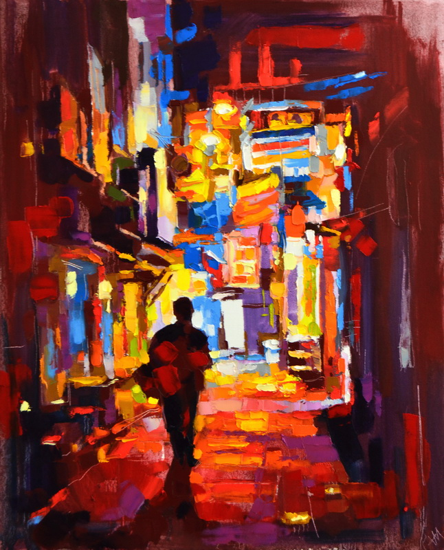 """À travers la ville."", oeuvre impressionniste contemporaine de Nikita Manokhin"