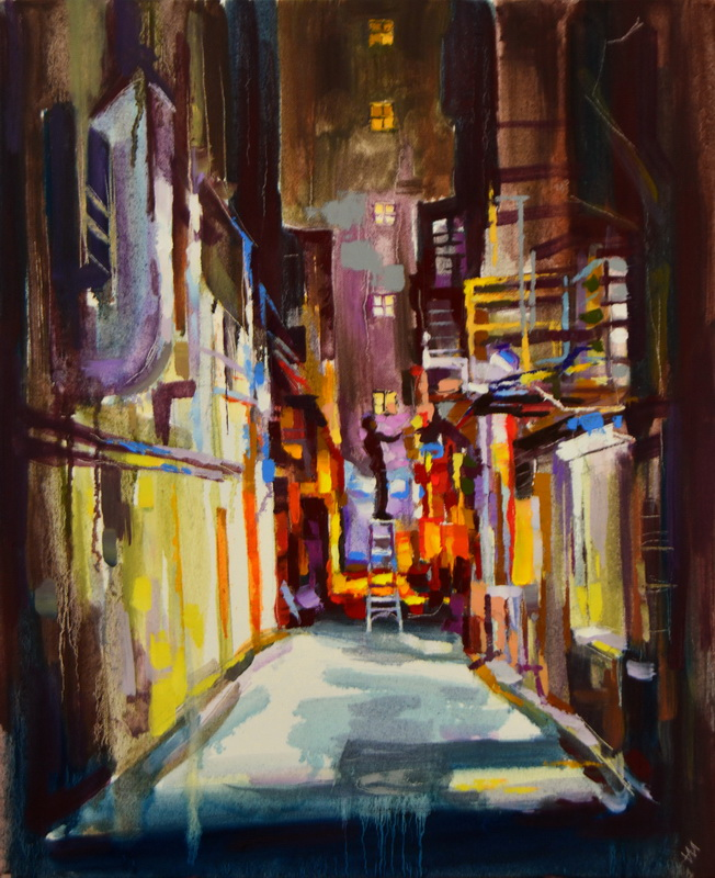"""Grande ville. Banlieue."", oeuvre impressionniste contemporaine de Nikita Manokhin"