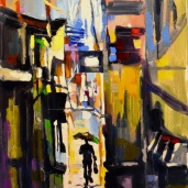 """Ruelle pluvieuse."", oeuvre impressionniste contemporaine de Nikita Manokhin"