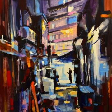 """Ville. Solitude."", oeuvre impressionniste contemporaine de Nikita Manokhin"