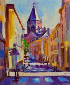 """Metz. Ruelle au printemps."", oeuvre impressionniste contemporaine de Nikita Manokhin"