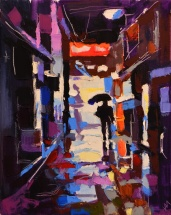 """Pluie nocturne."", oeuvre impressionniste contemporaine de Nikita Manokhin"