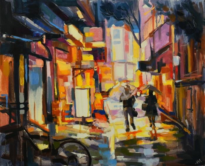 """Promenade japonaise."", oeuvre impressionniste contemporaine de Nikita Manokhin"