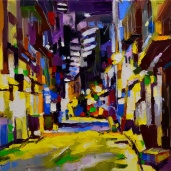 """Ruelle à Singapour."", oeuvre impressionniste contemporaine de Nikita Manokhin"