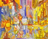 """""""La ville."""", oeuvre contemporaine abstraite de Nikita Manokhin"""