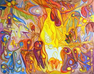 """Révolution."", oeuvre contemporaine abstraite de Nikita Manokhin"