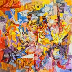 """Nature morte abstraite."", oeuvre contemporaine abstraite de Nikita Manokhin"