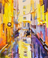 Tableau de Venise, artwork Venice, canal in Venice, impressionist artwork