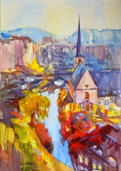 Tableau de Luxembourg, tableau de Grund, paysage de Luxembourg, vue d'Alzette