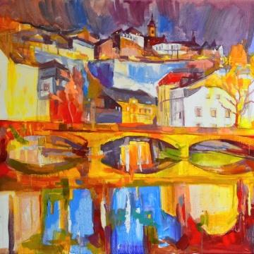 Tableau de Luxembourg, tableau de Grund, Luxembourg la nuit, soir à Luxembourg, vue d'Alzette