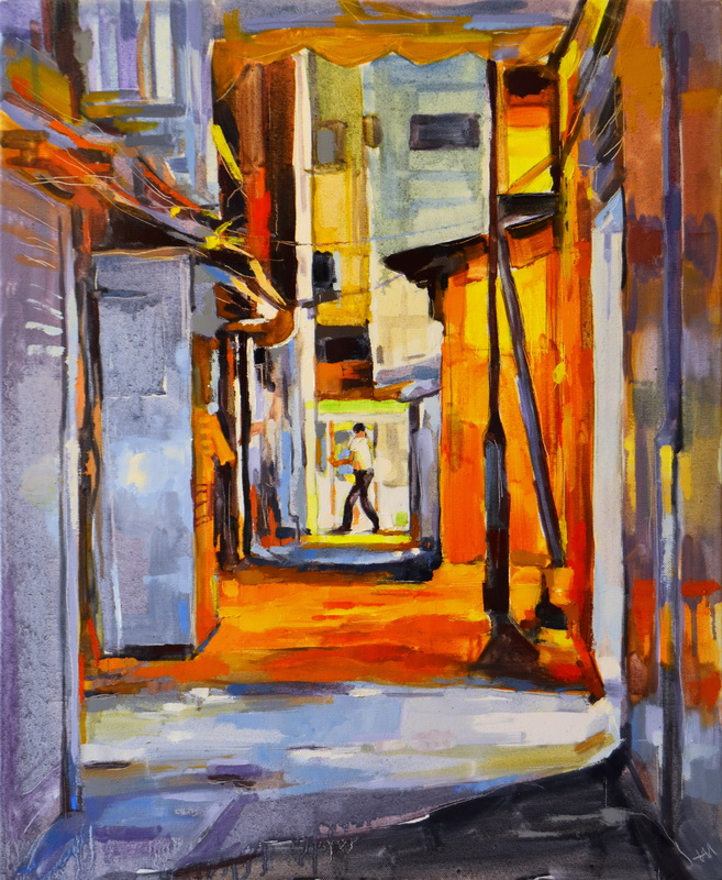 Tableau de Hong Kong, Hong Kong at night, Hong Kong street, back alley, urban artwork