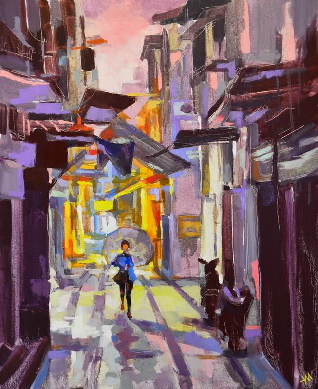 Tableau de Japon, Tokyo at night, Tokyo street, back alley, urban art