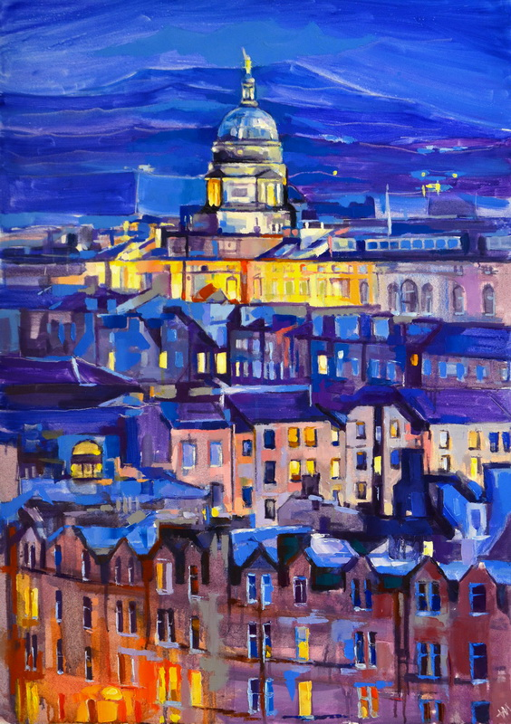 Edinburgh University, tableau d'Édimbourg, urban art, painting Scotland